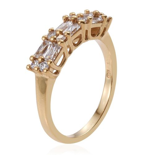 J Francis - 14K Gold Overlay Sterling Silver (Bgt) Ring Made with SWAROVSKI ZIRCONIA
