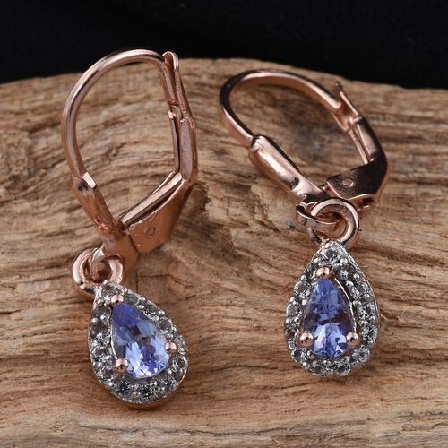 Tanzanite Pear, White Topaz Silver Earrings in Rose Gold Overlay 0.500 Ct.