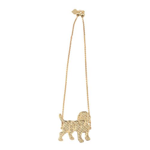 Designer Inspired 14K Gold Overlay Sterling Silver Dog Charm Bracelet (Size 6 to 9 with Adjustable), Silver wt 3.70 Gms.
