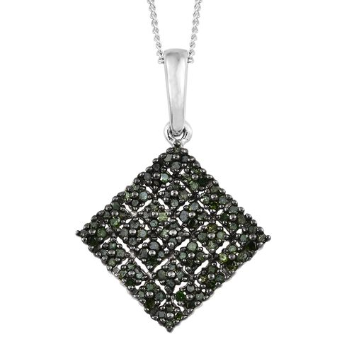 Green Diamond (Rnd) Square Pendant With Chain in Black Rhodium and Platinum Overlay Sterling Silver 0.500 Ct. Number of Diamonds 100