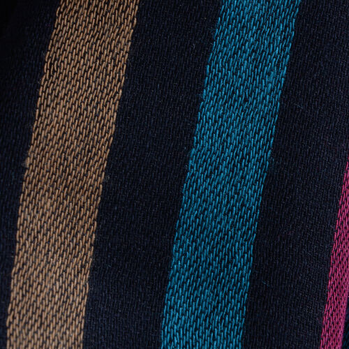 100% Modal Black and Multi Colour Stripe Pattern Jacquard Scarf (Size 190x70 Cm)