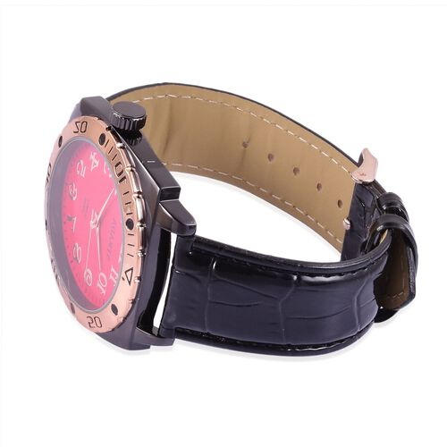 STRADA Japanese Movement Red and Rose Gold Colour Dial Water Resistant Watch in Black Tone with Stainless Steel Back and Black Strap