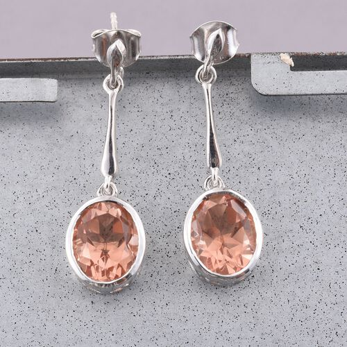Galileia Blush Pink Quartz (Ovl) Earrings (with Push Back) in Platinum Overlay Sterling Silver 6.000 Ct.