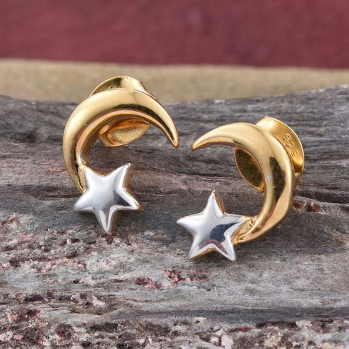 Platinum and Yellow Gold Overlay Sterling Silver Moon and Star Stud Earrings (with Push Back)