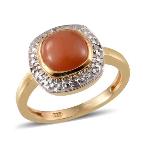 Mitiyagoda Peach Moonstone (Cush 2.50 Ct), Diamond Ring in 14K Gold Overlay Sterling Silver 2.520 Ct.