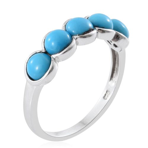 Arizona Sleeping Beauty Turquoise (Rnd) 5 Stone Ring in Platinum Overlay Sterling Silver 2.250 Ct.