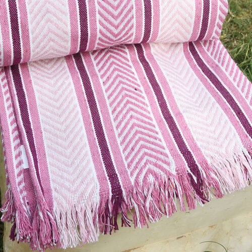 Final Stock Deal - Pink, Burgundy and White Colour Plaid (Size 150x120 Cm)