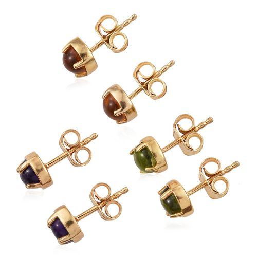Set of 3 - Amethyst (Rnd), Citrine and Hebei Peridot Stud Earrings (with Push Back) in 14K Gold Overlay Sterling Silver 3.000 Ct.