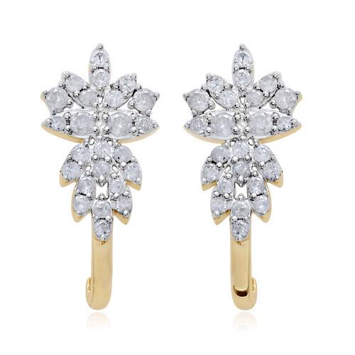 9K Y Gold SGL Certified Diamond (Rnd) (I3/G-H) J Hoop Earrings (with Push Back) 1.000 Ct.