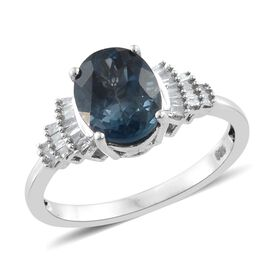 London Blue Topaz (Ovl 2.85 Ct), Diamond Ring in Platinum Overlay Sterling Silver 3.000 Ct.