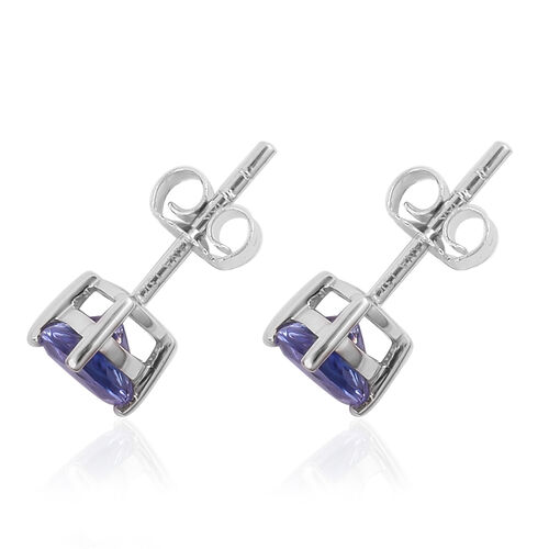ILIANA 1.30 Ct AAA Tanzanite Stud Earrings in 18K White Gold  (with Push Back)