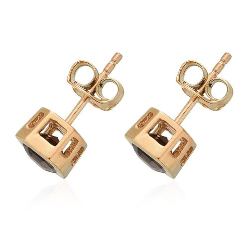 Brazilian Smoky Quartz (Oct) Stud Earrings (with Push Back) in 14K Gold Overlay Sterling Silver 1.250 Ct.