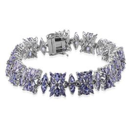 Tanzanite (Pear) Bracelet (Size 8) in Platinum Overlay Sterling Silver 22.000 Ct.