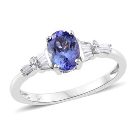 9K White Gold 1.15 Ct AA Tanzanite Ring with Diamond