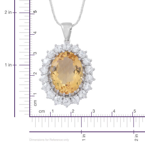 Collectors Edition - Rare AAA Uruguay Citrine (Ovl 16.00 Ct), Natural Cambodian White Zircon Pendant with Chain (Size 30) in Rhodium Plated Sterling Silver 22.500 Ct.