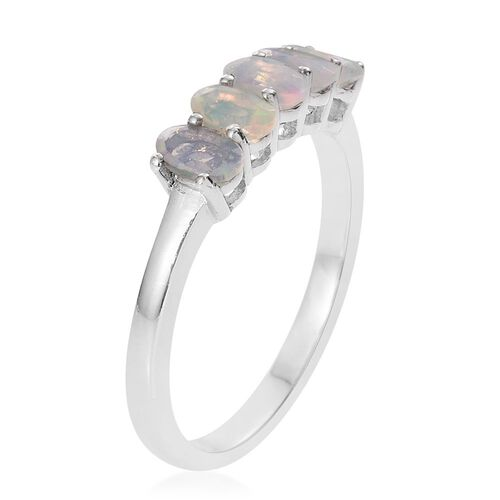 Ethiopian Welo Opal 0.75 Ct Silver 5 Stone Ring in Platinum Overlay