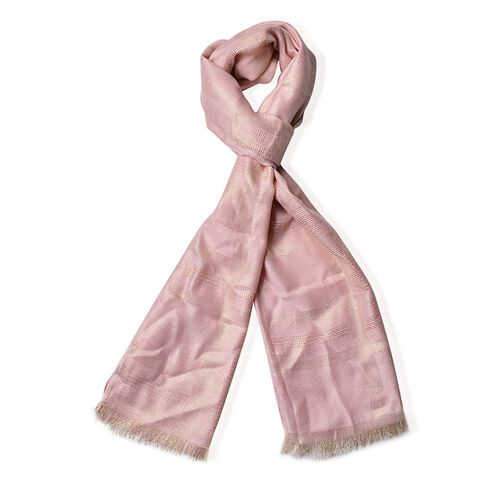 Checks Pattern Silver and Light Pink Colour Scarf (Size 180x70 Cm)
