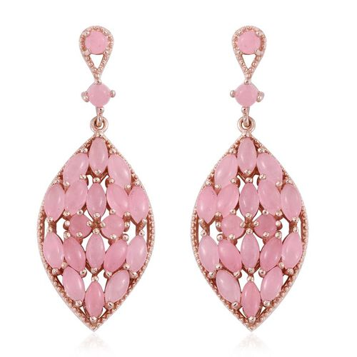 Pink Jade (Mrq) Earrings in Rose Gold Overlay Sterling Silver 10.000 Ct.