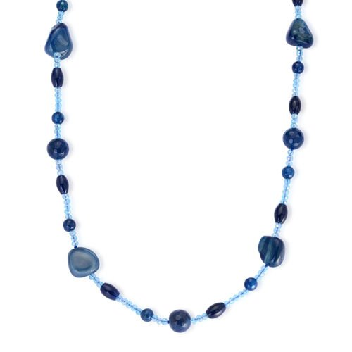 Blue Agate and Blue Glass Necklace (Size 32) 250.000 Ct.