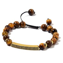 Tigers Eye Beads and White Austrian Crystal Adjustable Bracelet (Size 6 to 9) in Yellow Gold Tone 84.500 Ct.