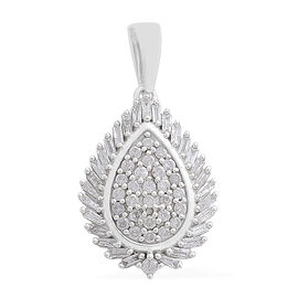DOD - 9K White Gold SGL Certified Diamond (Rnd and Bgt) (I3/G-H) Pendant 0.500 Ct.