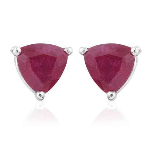 African Ruby 2.25 ct. Trillion Stud Earrings with Push Back in Platinum Overlay