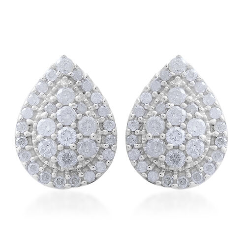 9K White Gold SGL Certified Diamond (Rnd) (I3 G-H) Stud Earrings (with Push Back) 1.000 Ct.