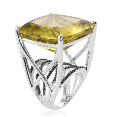 Natural Green Gold Quartz (Cush), Black Diamond Ring in Platinum Overlay Sterling Silver 70.500 Ct.