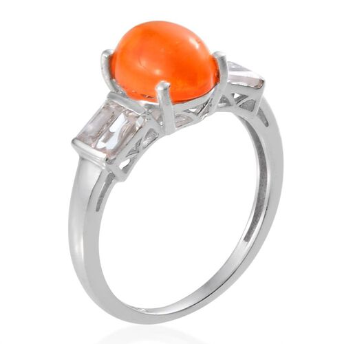 Orange Ethiopian Opal (Ovl 1.15 Ct), White Topaz Ring in Platinum Overlay Sterling Silver 1.750 Ct.