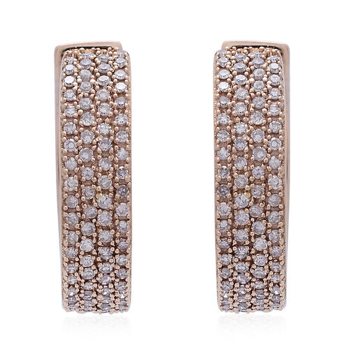 ILIANA 18K Rose Gold Natural Pink Diamond (Rnd) Hoop Earrings (with Clasp) 1.000 Ct.