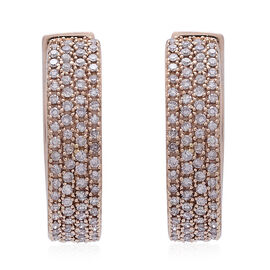 Exclusive Edition ILIANA 18K Rose Gold Natural Pink Diamond (Rnd) Hoop Earrings (with Clasp) 1.000 Ct. Gold Wt 7.70 Gms