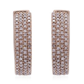 Exclusive Edition ILIANA 18K R Gold Natural Pink Diamond (Rnd) Hoop Earrings (with Clasp) 1.000 Ct. Gold Wt 7.70 Gms