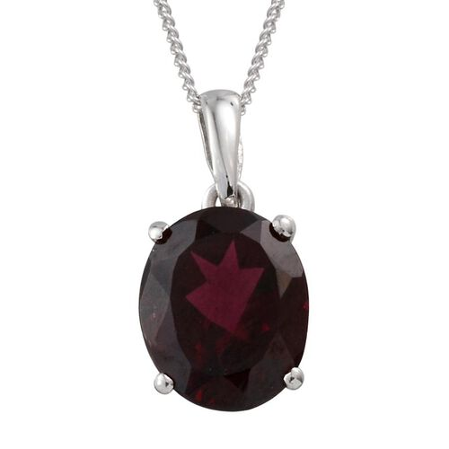 Rhodolite Garnet (Ovl) Solitaire Pendant With Chain in Platinum Overlay Sterling Silver 4.000 Ct.
