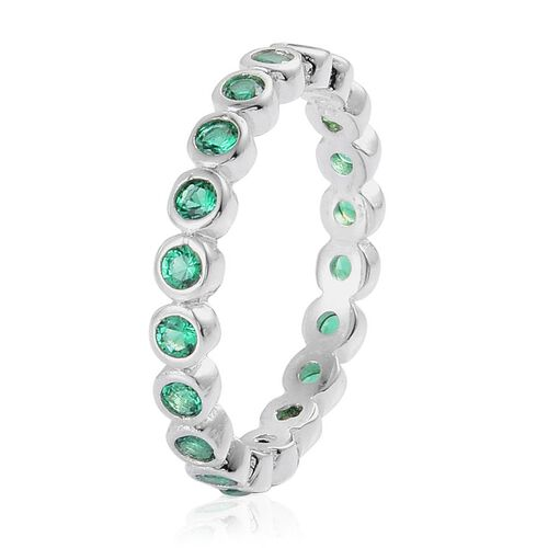 Simulated Green Spinel (Rnd) Full Eternity Ring in Rhodium Plated Sterling Silver 0.800 Ct.