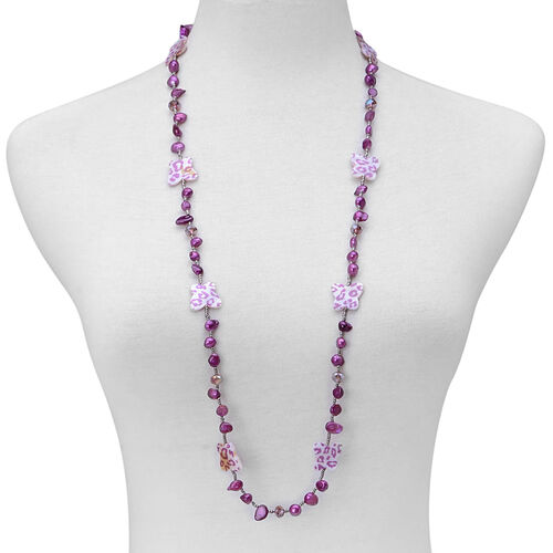 Purple Keshi Pearl, Dyed Shell, Simulated Grey Moonstone and Simulated Amethyst Necklace (Size 36)