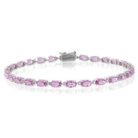 9K White Gold 9.25 Ct AA Pink Sapphire Tennis Bracelet (Size 7.5)