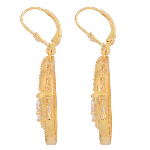 Signature Collection-ELANZA AAA Simulated Diamond (Rnd) Lever Back Earrings in 14K Gold Overlay Sterling Silver. Silver WT 7.25 Gms