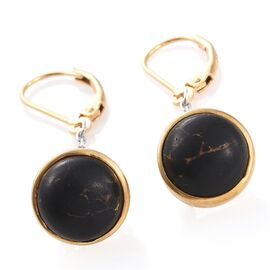 Mojave Black Turquoise (Rnd) Lever Back Earrings in Platinum and Yellow Gold Overlay Sterling Silver 6.250 Ct.