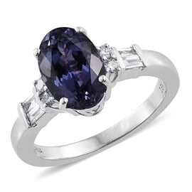 ILIANA 18K White Gold 3.40 Ct AAA Rare Peacock Tanzanite, Diamond SI G-H Ring