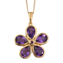 Natural Uruguay Amethyst (Pear) Floral Pendant With Chain in 14K Gold Overlay Sterling Silver 6.000 Ct.