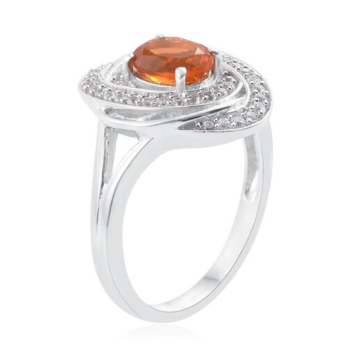 Jalisco Fire Opal (Ovl), Natural Cambodian Zircon Ring in Platinum Overlay Sterling Silver 1.250 Ct.