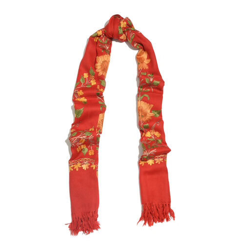 100% Merino Wool Multi Colour Floral and Leaves Embroidered Red Colour Scarf with Fringes (Size 190x70 Cm)