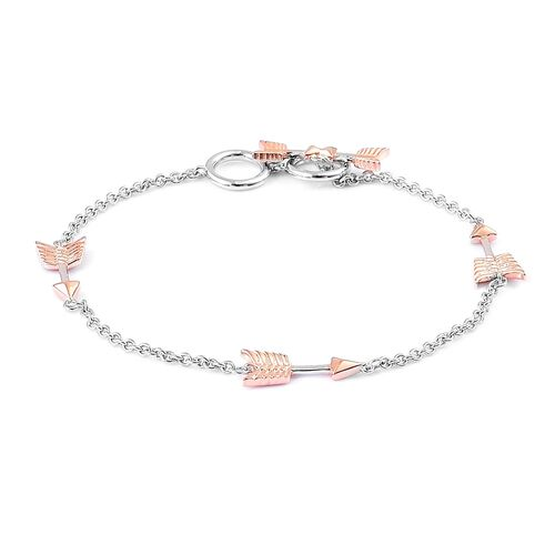 LucyQ Arrow Bracelet (Size 7.5) in Rhodium and Rose Gold Overlay Sterling Silver
