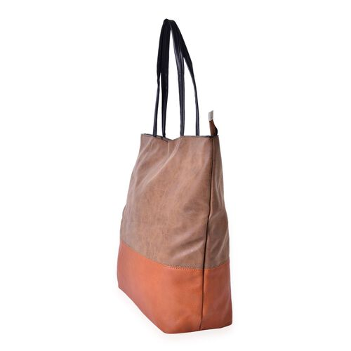 Tan Colour Block Large Carryall Tote Bag (Size 43x38x31x14.5 Cm)