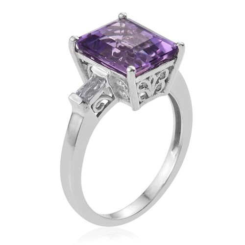 Natural Uruguay Amethyst (Oct 4.25 Ct), White Topaz Ring in Platinum Overlay Sterling Silver 4.500 Ct.