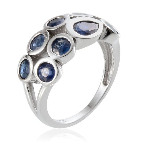 Kanchanaburi Blue Sapphire (Pear 0.75 Ct) Ring in Platinum Overlay Sterling Silver 3.750 Ct.