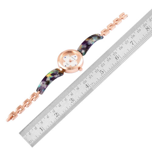 Designer Inspired-STRADA Japanese Movement Blue Austrian Crystal Studded White Dial Water Resistant Watch in Rose Gold Tone with Multi Colour Strap