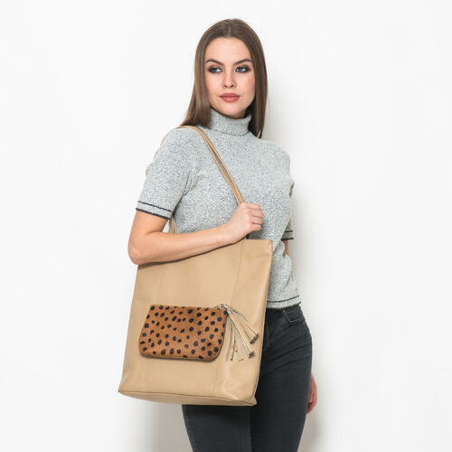 Elizabeth Genuine Leather Camel Colour Tote Bag with Removable Pouch (Size 38x37 Cm and 21x13 Cm)