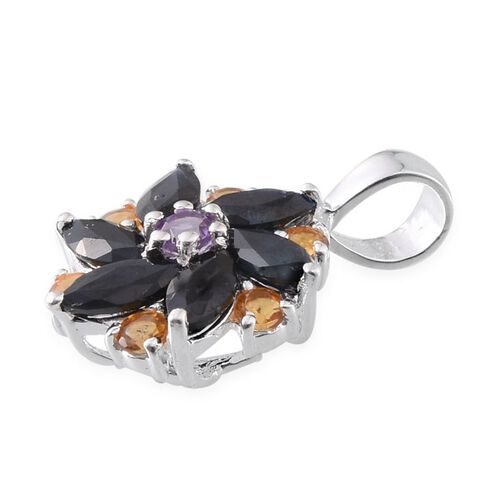Black Sapphire (Mrq), Amethyst and Citrine Floral Pendant in Sterling Silver 1.500 Ct.