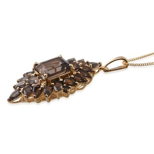 Brazilian Smoky Quartz (Oct 2.65 Ct) Pendant With Chain in 14K Gold Overlay Sterling Silver 6.750 Ct.
